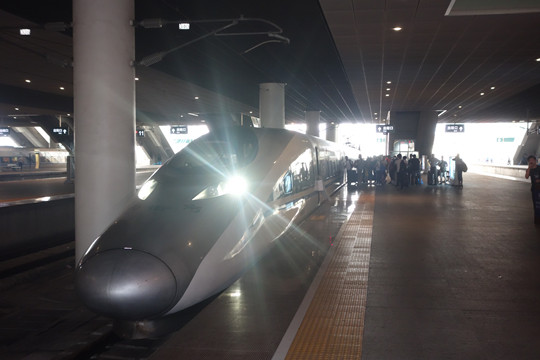 The hi-speed train from Shenzhen to Guilin