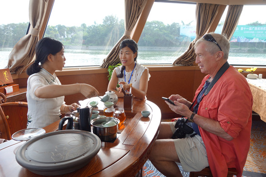 The tea ceremony aboard our 4 Star river boat. Pictured are the lady who demonstrated what the tea ceremony was all about, Julie, and Jay