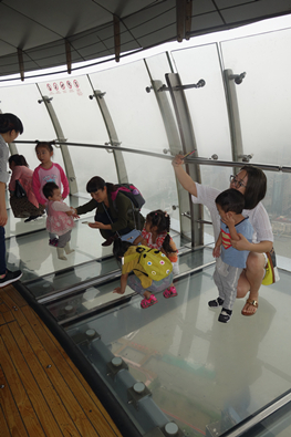 Glass deck in Oriental Pearl TV Tower