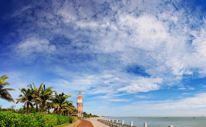 the holiday beach in haikou Haikou bay is a bay on the northern coast of hainan province, china, in the qiongzhou strait holiday beach nanhai pearl artificial island.