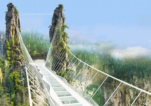 The world's highest and longest glass-bottomed bridge to open
