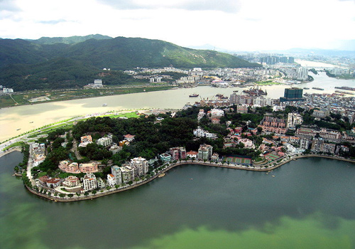 An overlook of Macau on the top of Penha Hill.