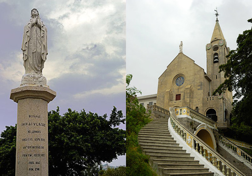 The goddess statue and Penha Church on Penha Hill, Macao