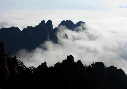 Sea of clouds after rainfall at Huangshan Mountain