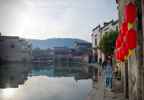 Morning scenery of local residences in Hongcun, China's Anhui
