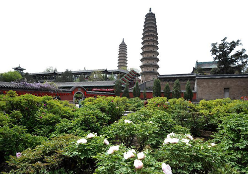Twin pagodas at Yongzuo Temple in China's Taiyuan