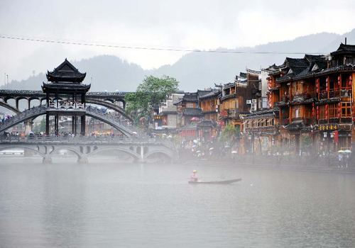 Rainy scenery in Fenghuang County