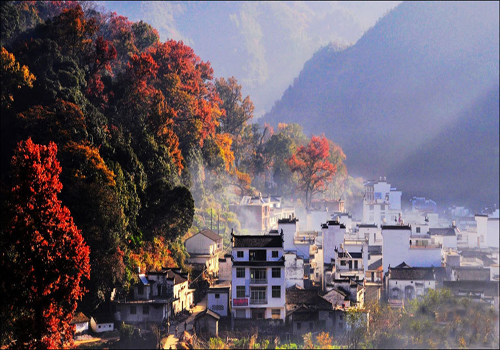 Picturesque scenery of Changxi Village in Wuyuan
