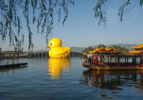 Rubber Duck Displayed at Summer Palace
