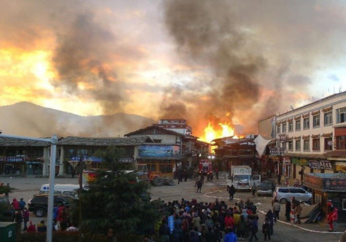 Ancient Town in China's Shangri-La Damaged by Fire