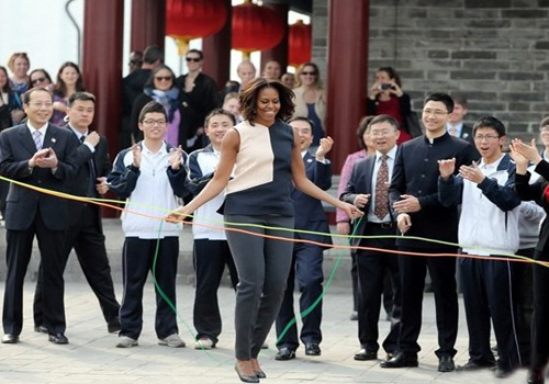 US First Lady Skip and Dance the Yangko in Xi'an