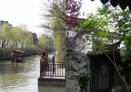 Mudu Ancient Town, Suzhou, the water ways and gardens.