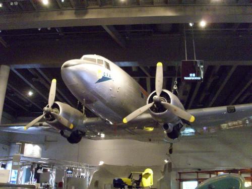 The DC-3 passenger plane hanging on the ceiling of Hong Kong Science Museum.