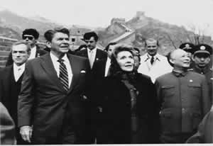 President Ronald Reagon of the United States is Visiting Great Wall of China