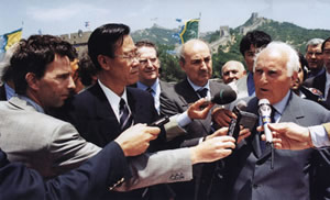 Oscar luigi Scalfaro, President of Italy was at Badaling Great Wall on June 10, 1998.