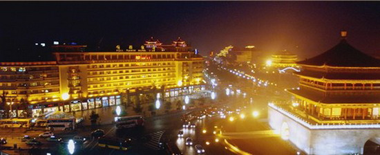 Night views of the Bell Tower Hotel, you can enjoy the beautiful night of Xian from you room, the bell tower is in front of you.