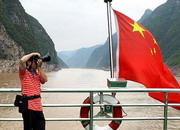 Photographer on the cruise ship of Yangtze River